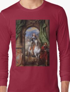 Vintage famous art - Anthony Van Dyck - Charles I With Monsieur De St Antoine Long Sleeve T-Shirt