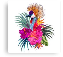 Crowned Crane and Tropical Flowers Canvas Print