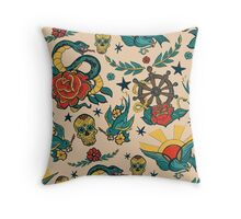 Punk Tattoo Pattern Design and Illustration Throw Pillow