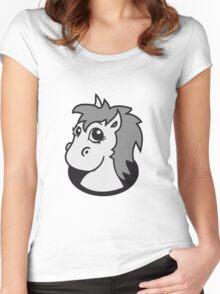 bottomless hole foal sweet cute sitting comic cartoon pony horse pferdchen kawaii child girl baby Women's Fitted Scoop T-Shirt