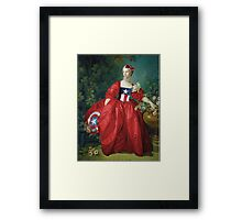 Lady Captain America, 18th Century Style Framed Print