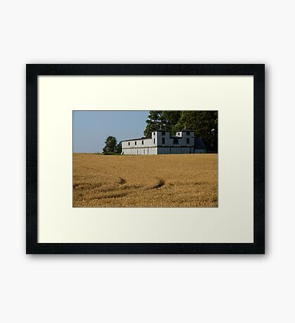 The Ancient Double Tower Barn in Golden Wheat Framed Print