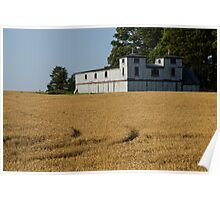 The Ancient Double Tower Barn in Golden Wheat Poster