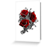Red roses with pearls Greeting Card