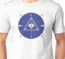 Evil Eye Mandala – Navy Unisex T-Shirt