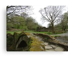 Pack Horse Bridge & Ruined Hall Canvas Print