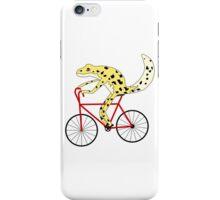 gecko with human limbs riding a bike iPhone Case/Skin