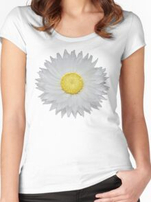 White Daisy with Yellow Center Women's Fitted Scoop T-Shirt