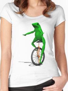 DAT BOI FROG MEME INTERNET PEPE RARE Women's Fitted Scoop T-Shirt