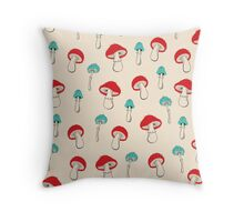 Mushroom Garden Throw Pillow