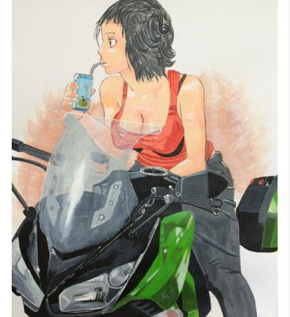Motorcycle girl Sticker