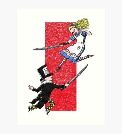 Alice vs. The Mad Hatter Art Print