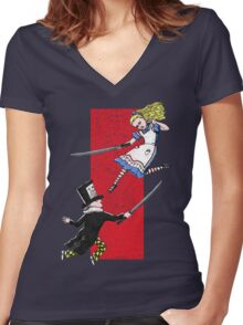 Alice vs. The Mad Hatter Women's Fitted V-Neck T-Shirt
