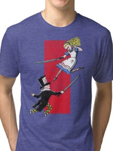 Alice vs. The Mad Hatter Tri-blend T-Shirt