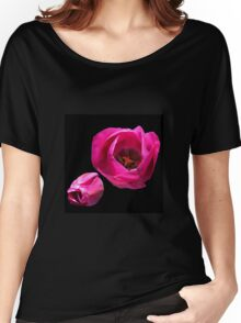 Vibrant Pink Tulips on Black Background Women's Relaxed Fit T-Shirt