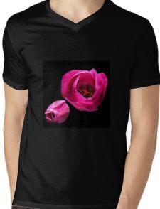 Vibrant Pink Tulips on Black Background Mens V-Neck T-Shirt