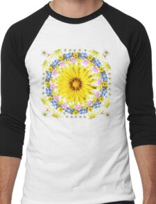 Yellow Everlastings with other Wildflowers Men's Baseball ¾ T-Shirt
