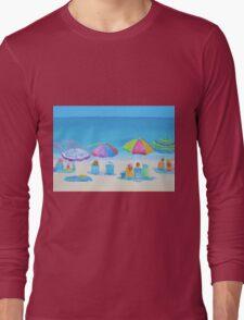 Beach painting - A Golden Day Long Sleeve T-Shirt