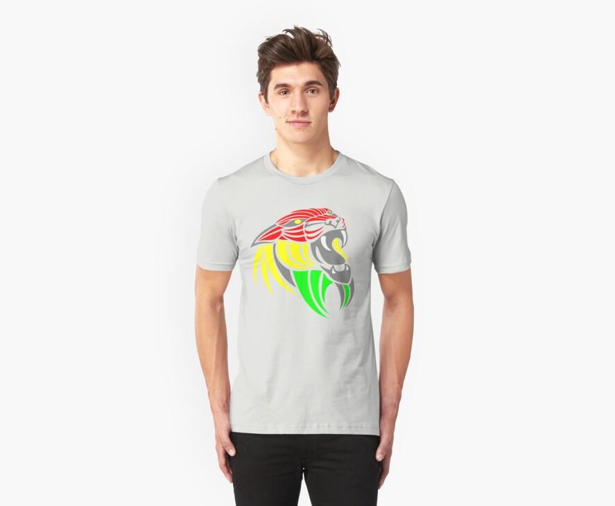Reggae Music Cool Lion Reggae Colors T Shirts and Stickers by Denis Marsili