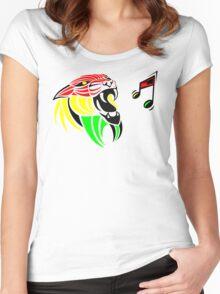 Grunge Reggae Music Lion Women's Fitted Scoop T-Shirt