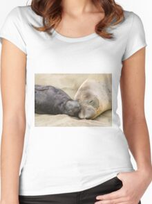 Northern Elephant Seal Sleeping With Her Pup Women's Fitted Scoop T-Shirt