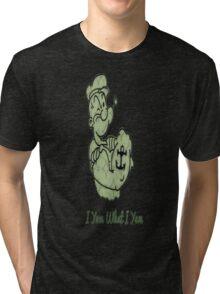 Green Pattern Popeye Tri-blend T-Shirt