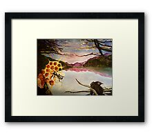 Busy Bee and Crow Over Mountain Landscape Framed Print