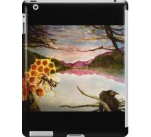 Busy Bee and Crow Over Mountain Landscape iPad Case/Skin