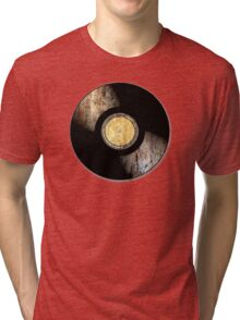 Vintage Vinyl Record Rust Texture - RETRO MUSIC DJ! Tri-blend T-Shirt