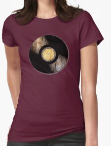 Vintage Vinyl Record Rust Texture - RETRO MUSIC DJ! Womens Fitted T-Shirt