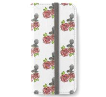 Fantail and roses watercolor and ink iPhone Wallet/Case/Skin
