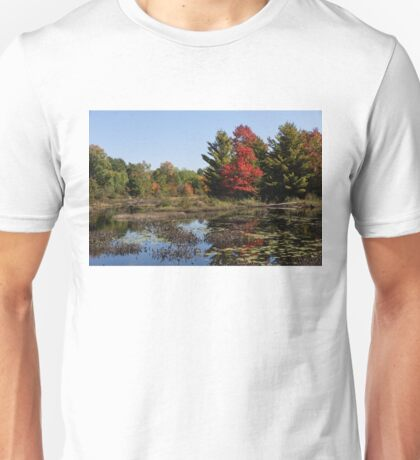 Red Maple - Still Forest Lake in the Fall Unisex T-Shirt