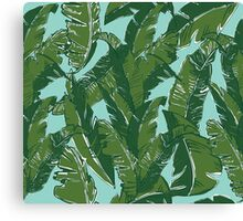 Leaves Bananique in Aqua Sea Canvas Print
