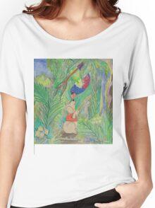 Puppy meets Rainbow Lorikeet  Women's Relaxed Fit T-Shirt