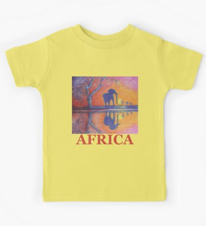 African Landscape with Elephant Kids Tee