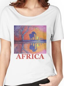 African Landscape with Elephant Women's Relaxed Fit T-Shirt