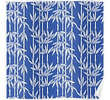 Bamboo Rainfall in China Blue/Seashell White Poster
