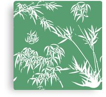 Bamboo Silhouettes in Everglade Green/Seashell White Canvas Print