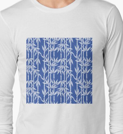 Bamboo Rainfall in China Blue/Seashell White Long Sleeve T-Shirt
