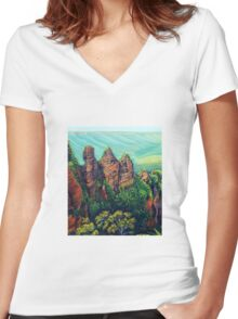 Three Sisters, Blue Mountains Women's Fitted V-Neck T-Shirt