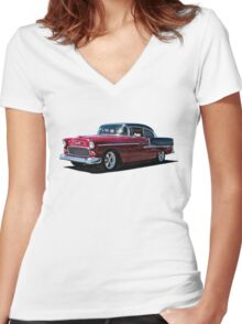 Double Nickel,......55 Chevy Women's Fitted V-Neck T-Shirt