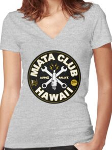 Miata Club of Hawaii Sparky Cross Women's Fitted V-Neck T-Shirt