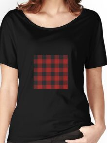 90's Black and Red Buffalo Check Plaid - Small Scale Women's Relaxed Fit T-Shirt