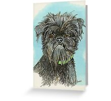 Cute Griffon Bruxellois Dog by Anthea M Greeting Card