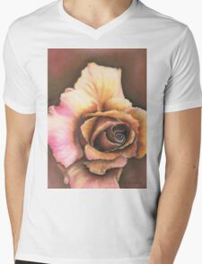 Earth Tone Rose Mens V-Neck T-Shirt