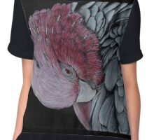 Australian Galah in Coloured Pencil Chiffon Top