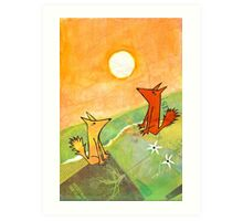 two dogs on a green hill Art Print