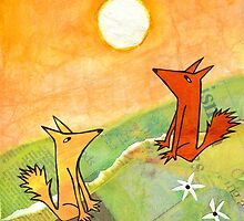 two dogs on a green hill by genevievem