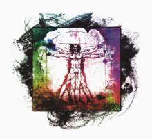 Colorful Grunge Vitruvian Man - Leonardo Da Vinci Tribute Art T Shirt - Stickers by ddtk