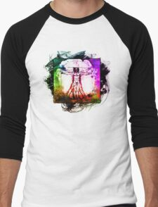 Colorful Grunge Vitruvian Man - Leonardo Da Vinci Tribute Art T Shirt - Stickers T-Shirt